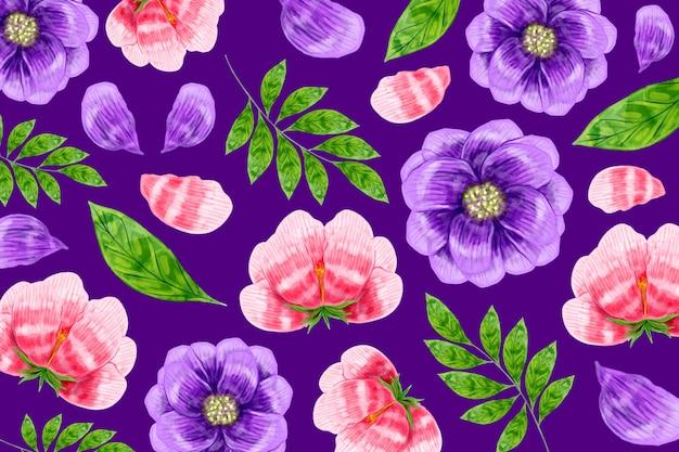 Fond De Motif Floral Moderne Vecteur gratuit