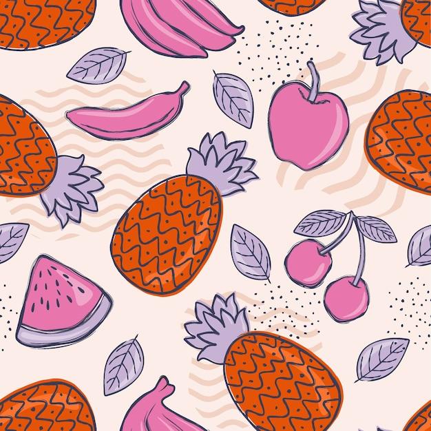 Fond De Motif Fruité Coloré Créatif. Vecteur Premium