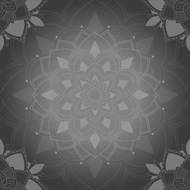 Fond De Motifs De Mandala Gris Vecteur gratuit