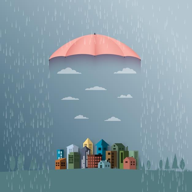 Fond de mousson avec un parapluie protège la ville de la pluie. Vecteur Premium