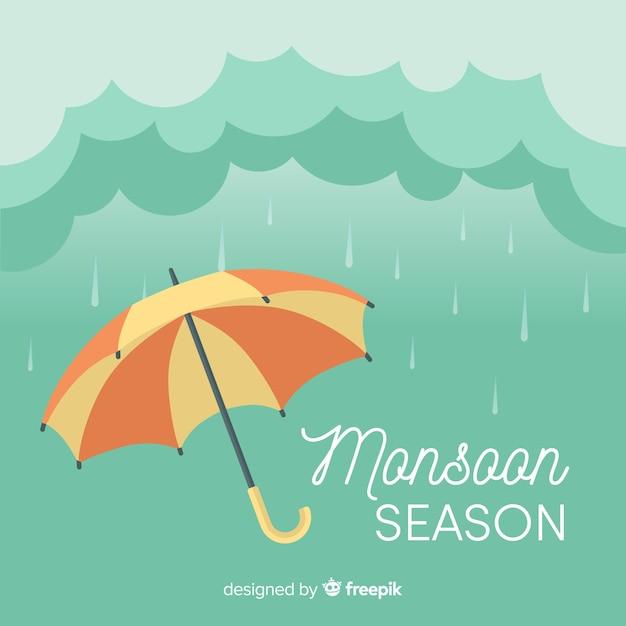 Fond De Mousson Avec Parapluie Vecteur Premium