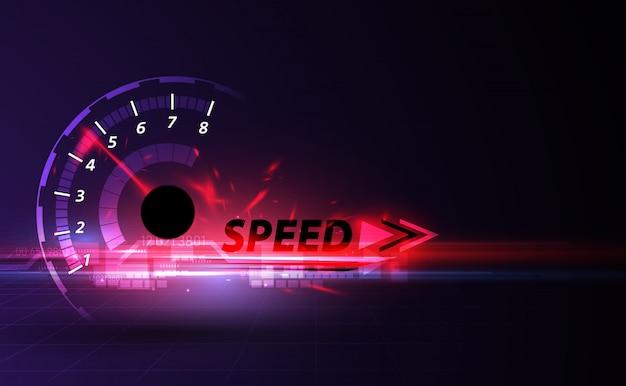 Fond de mouvement de vitesse avec voiture de compteur de vitesse rapide Vecteur Premium
