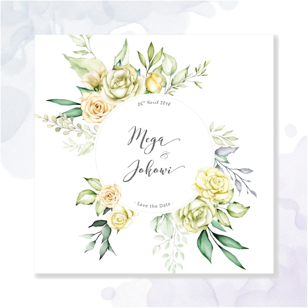 Fond multi-usage aquarelle cadre floral Vecteur Premium