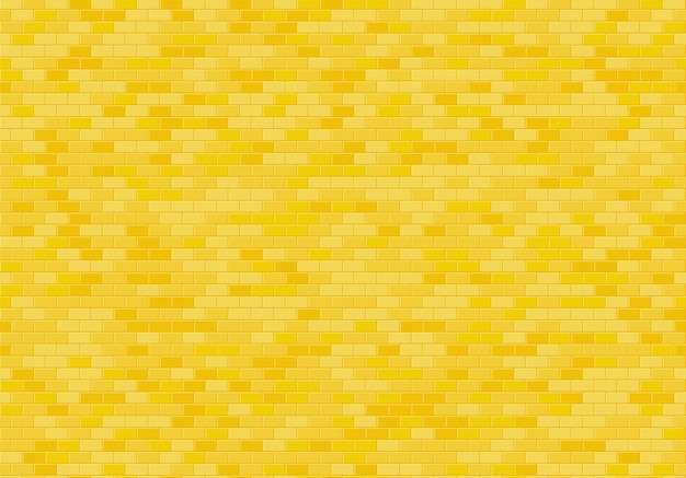 Fond De Mur De Brique D'or, Vecteur De Texture Transparente De Briques Jaunes. Vecteur Premium