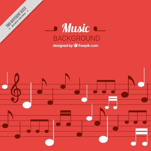 Fond musical rouge avec détails blancs Vecteur gratuit