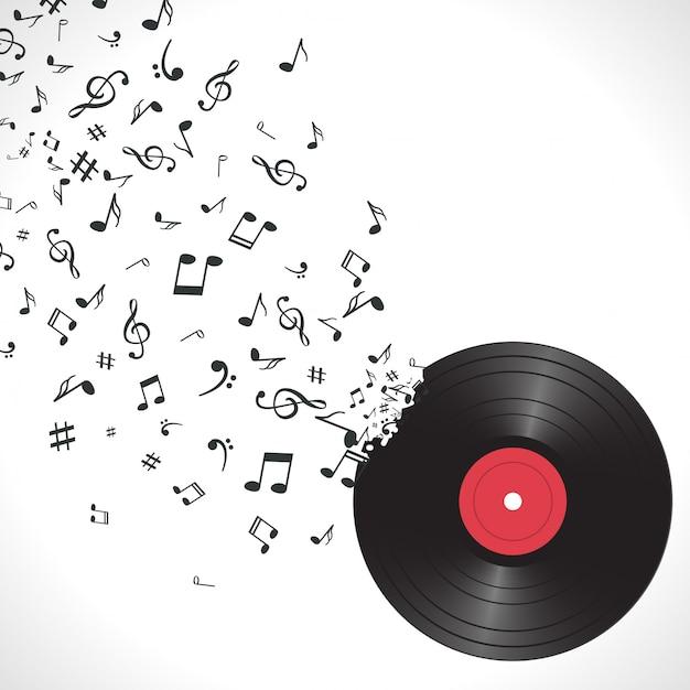 Fond de musique abstraite avec des notes et vinyle Vecteur Premium