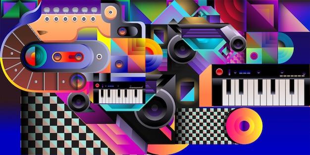Fond de musique colorée illustration vectorielle Vecteur Premium
