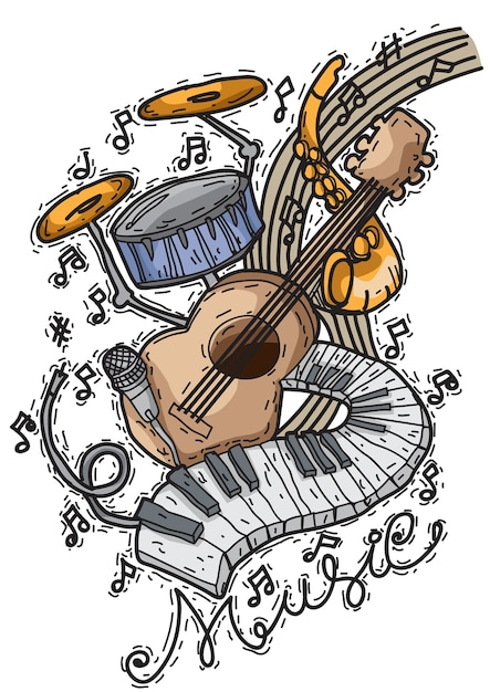 Fond de musique avec des instruments dans un style dessiné à la main Vecteur Premium