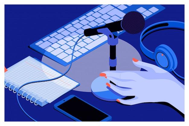 Fond de musique ou de podcast Vecteur Premium