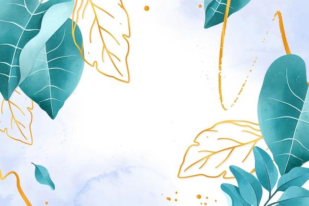 Fond De Nature Avec Une Feuille D'or Vecteur gratuit