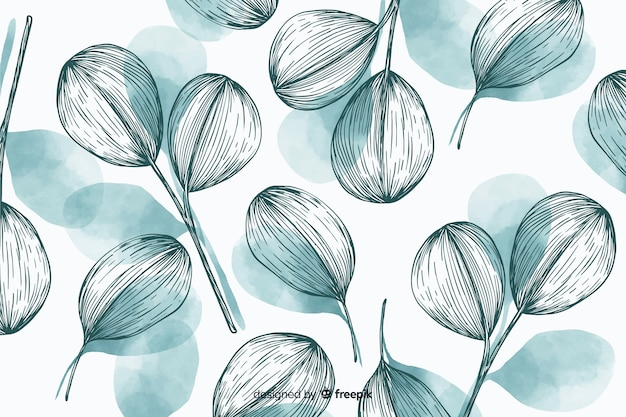 Fond de nature avec des feuilles dessinées à la main Vecteur gratuit
