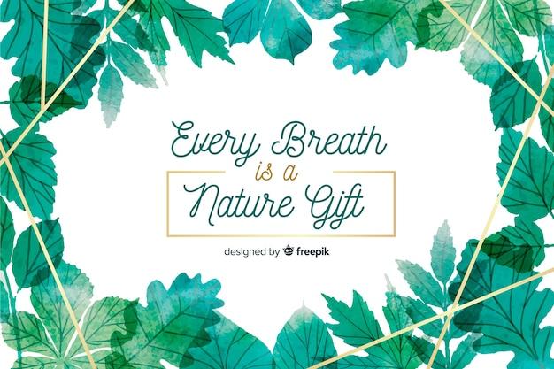 Fond de nature florale avec citation Vecteur gratuit