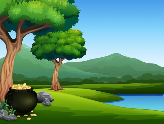 Fond de nature avec pot noir de pièces de monnaie Vecteur Premium