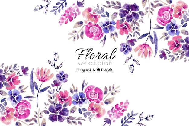 Fond Naturel Avec Des Fleurs à L'aquarelle Vecteur Premium