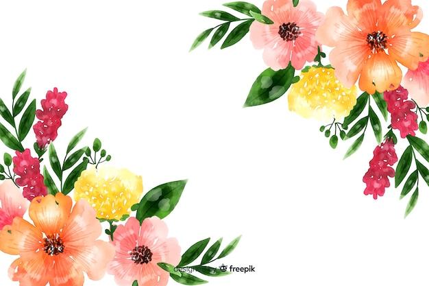 Fond naturel avec des fleurs à l'aquarelle Vecteur gratuit