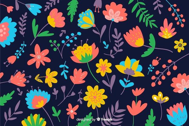 Fond naturel avec des fleurs colorées Vecteur gratuit
