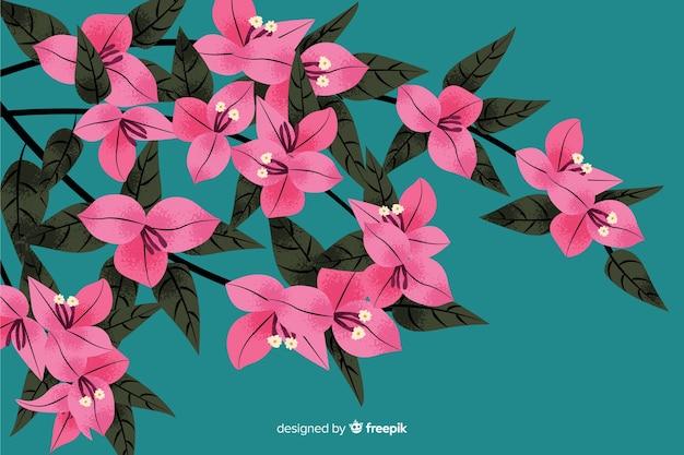 Fond naturel avec des fleurs dessinées à la main Vecteur gratuit
