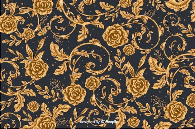 Fond naturel avec des fleurs ornementales dorées Vecteur gratuit