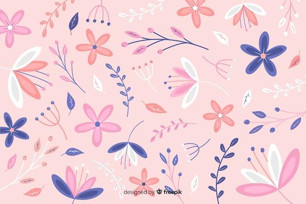 Fond naturel avec des fleurs plates Vecteur gratuit