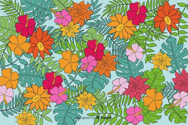 Fond naturel avec floral exotique coloré Vecteur gratuit