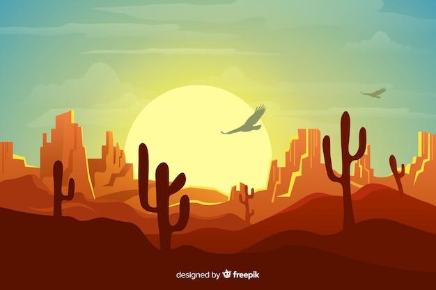 Fond naturel avec paysage désertique Vecteur gratuit