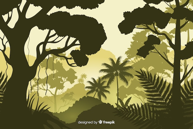 Fond naturel avec paysage de forêt tropicale Vecteur gratuit