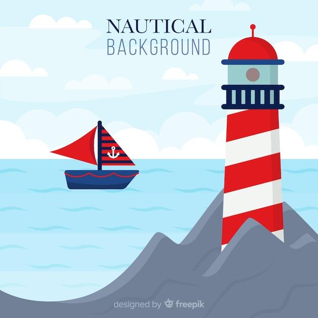 Fond nautique phare plat Vecteur gratuit
