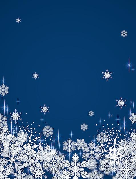 Fond neigeux d'hiver Vecteur Premium