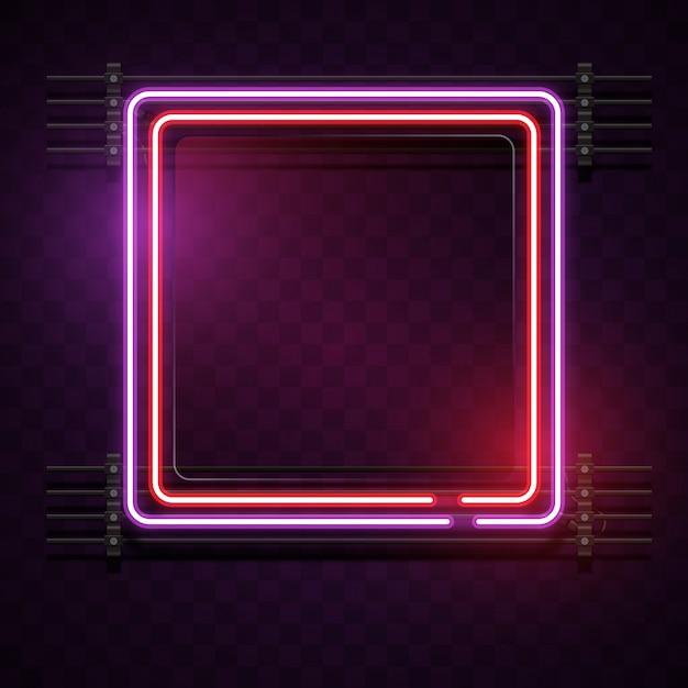 Fond néon carré Vecteur gratuit