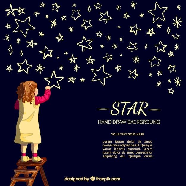 Fond de nice de fille dessin étoiles Vecteur gratuit