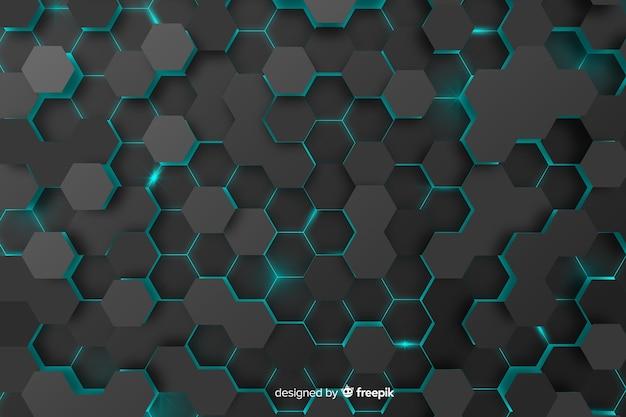 Fond De Nid D'abeilles Technologique Avec Des Hexagones Vecteur gratuit