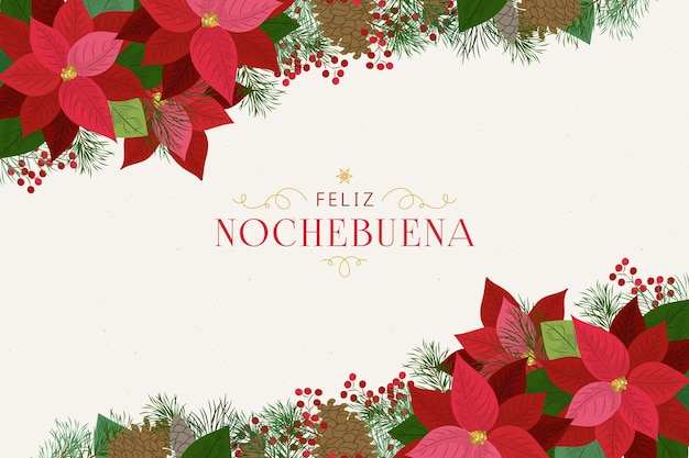 Fond De Nochebuena Dessiné à La Main Vecteur gratuit