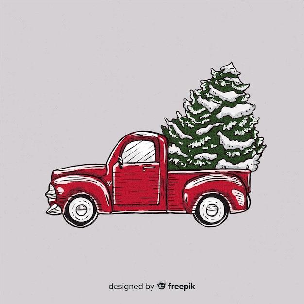 Fond de noël arbre camion de livraison Vecteur gratuit