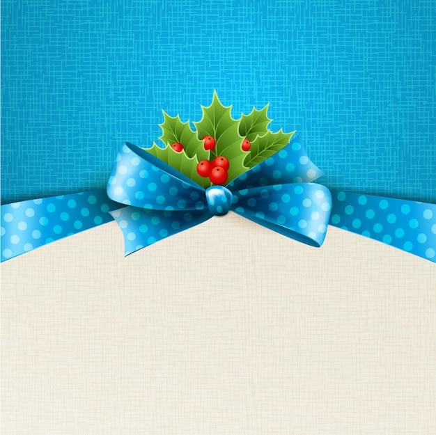 Fond De Noël Avec Arc Et Houx Vecteur Premium