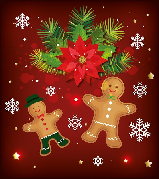 Fond de noël avec des biscuits au gingembre et décoration Vecteur gratuit