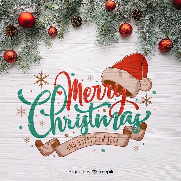 Fond De Noël En Bois Vecteur gratuit