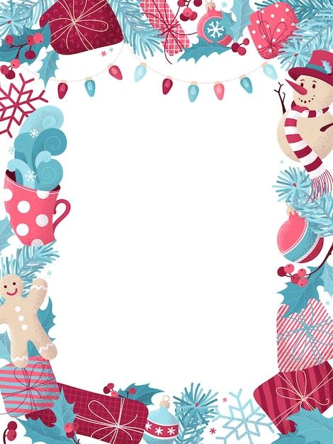 Fond De Noël Avec Bonhomme De Neige, Bonhomme En Pain D'épice, Gui, Cadeaux, Tasse De Chocolat Chaud, Branches D'épinette Avec Boules, Lampes Roses Et Bleues. Vecteur Premium