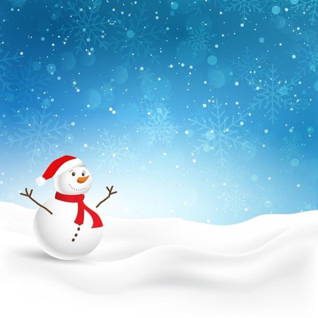 Fond De Noël Avec Bonhomme De Neige Mignon Dans La Neige Vecteur gratuit