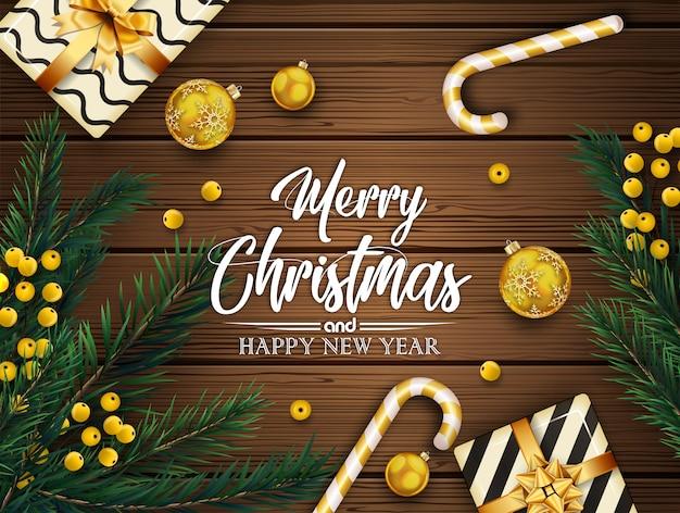 Fond De Noël Avec Des Branches De Sapin Et Des Boules Vecteur Premium