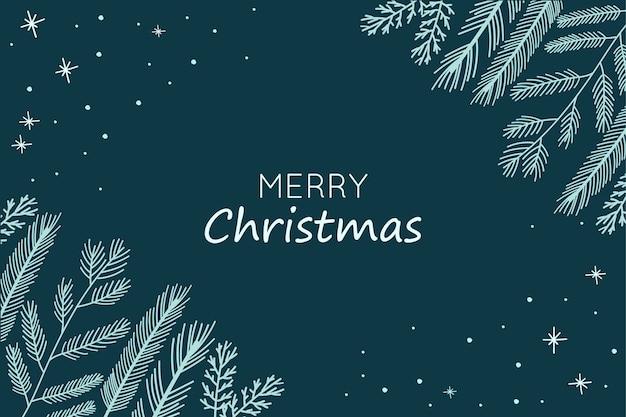 Fond De Noël Avec Des Branches De Sapin Dessinés à La Main Vecteur gratuit