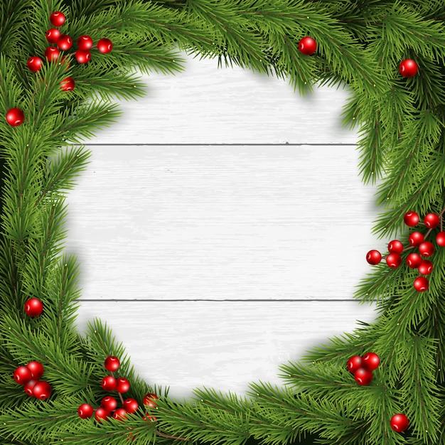 Fond De Noël Avec Des Branches Vecteur Premium