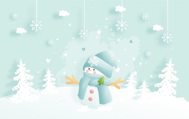 Fond De Noël, Célébrations Avec Bonhomme De Neige Mignon Et Scène De Noël Vecteur Premium
