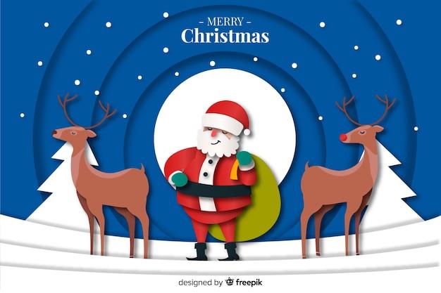 Fond De Noël Avec Des Cerfs Et Du Père Noël Vecteur gratuit