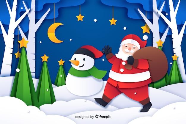 Fond De Noël Dans Le Style Du Papier Vecteur gratuit