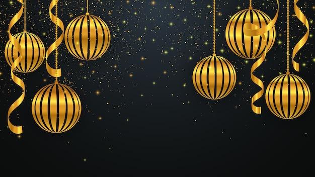 Fond De Noël Avec Des Décorations De Noël Dorées. Fond De Nouvel An. Vecteur Premium
