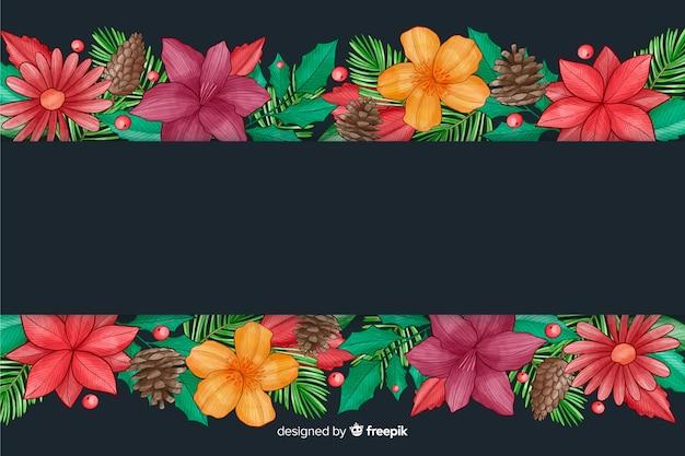 Fond de noël avec dessin aquarelle de fleurs Vecteur gratuit