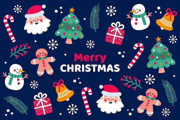 Fond De Noël Dessiné à La Main Vecteur gratuit