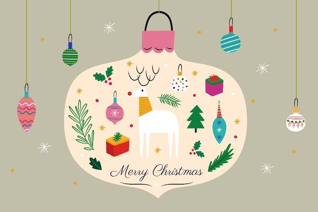 Fond De Noël Dessiné à La Main Vecteur Premium