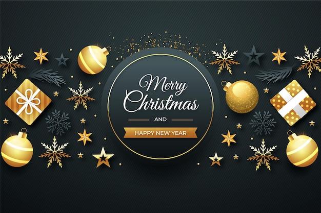 Fond De Noël Doré Plat Vecteur gratuit