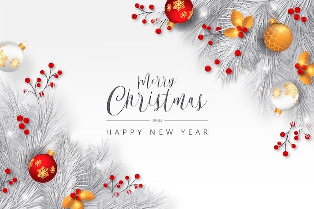 Fond De Noël élégant Avec Des Branches Blanches Vecteur gratuit
